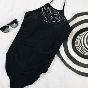Black One Piece Swimsuit Size Medium